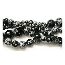 Parte 45+ Nero/Bianco Fiocco di neve Ossidiana 8mm Plain Round Beads GS1656-3