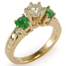 14k Solid Yellow Gold Emerald Diamond Engagement Ring