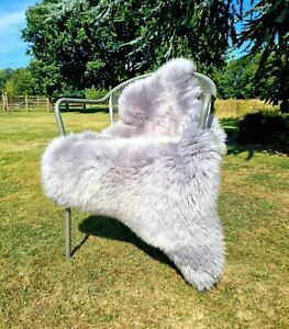 XXXL British Grey Sheepskin Rug - 125cm by 75cm A++ (3959)