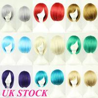 UK Women's Bob Short Straight Synthetic Wigs Anime Cosplay Fancy Dress Full Wigs