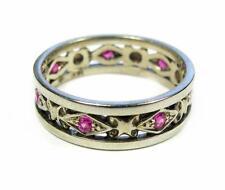 Antique Women Wedding Eternity Band Ring 0.20CT Pink Sapphire 14K White Gold