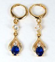 Women's 18 Carat Gold Plated Blue and Clear Zircon Drop Dangle Huggie Earrings