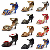 Women's Ballroom Latin Tango Dance Shoes High Heels Open Toe Sandals Shoes Size