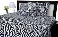 """Zebra Print Queen Size Ultra Soft Natural 4 PCs Bed Sheet Set 16"""" Deep Elastic"""