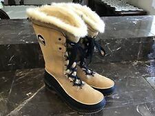 Sorel Boots Women Size 9 High Faux Fur Warm Lace Up Leather Boots