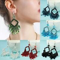 Fashion Women Crystal Tassel Rope Earrings Big Geometric Drop Dangle Ear Hook