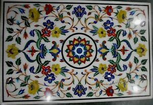 36 x 60 Inch Marble Dining Table Top Inlay Semi Precious Stones Conference Table
