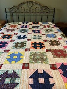 """CUSTOM MADE PATCHWORK QUILT BRIGHT COLORS 100% COTTON HAND QUILTED 68x80"""" NEW"""