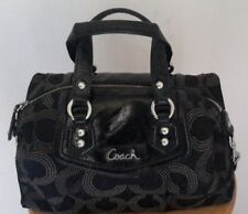 Authentic Coach Ashley Dotted OP Art Satchel Hand Bag Purse F20027 Black