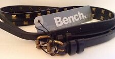 NEW WITH TAGS! LADIES Black Studded Double Bench Belt Size M/L