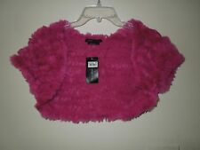 NWT BCBG Max Azria Fuschia  Rabbit Fur & Wool Blend Shrug Large