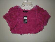 NWT BCBG Max Azria Fuschia  Rabbit Fur & Wool Blend Shrug Large