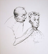 """NORMAN ROCKWELL Hand Signed 1974 Original Lithograph - """"At the Barber"""""""