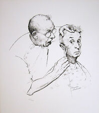 "NORMAN ROCKWELL Hand Signed 1974 Original Lithograph - ""At the Barber"""
