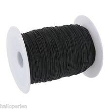 1 Rollo (120m) de algodón elástico negro cubiertos Hilo 1mm