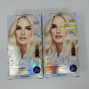 2 L'Oreal Feria Hair Color Dye Hyper Platinum Permanent Shimmering Beauty Blonde