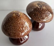 Mushroom Salt and Pepper Shakers Vintage Hull Pottery Brown Drip Excellent USA