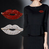 Fashion Alloy Enamel Sexy Red Lips Mouth Brooch Pin for Women Jewelry Party Gift