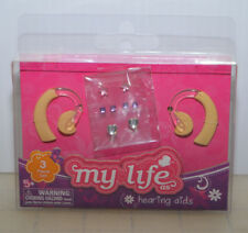 "2 hearing aid aids & earring sticker sheet my life as fits 18"" Boy & Girl doll"