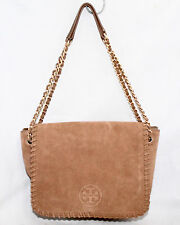 ac78ac768184 TORY BURCH Marion River Rock Suede Flap Chain Shoulder Bag Whip Stitch  450
