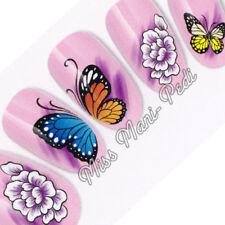 Nail Art Water Transfers Decals Butterfly Wings Butterflies & Flowers K195