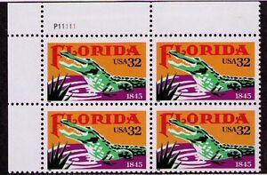 US USA Sc# 2950 MNH FVF PL# BLOCK Florida Alligator Swamp Palmetto