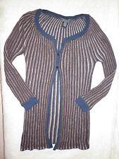 Gilet/Veste longue MANGO t. L 38 40 marron gris bleu ML laine mohair Etat NEUF