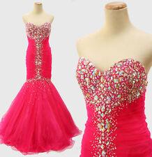 New JOVANI 171174 Genuine Hot Pink Mermaid Beaded Bridal Evening Women Gown 2