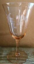 Gorgeous Soft Pink Stemmed Wine Glass with Etched Flowers Optic 6.5""