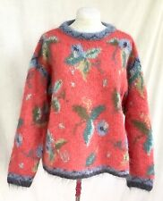 Icelandic Design Floral pattern 78% Mohair Soft fuzzy knit Pullover Sweater sz L