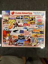 """White Mountain Puzzle """"I LOVE AMERICA"""" Puzzle 1000 Piece used 1 time"""