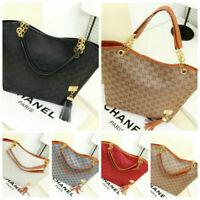 Womens Ladies Fashion Checkered Tote Bag Quality Daily Canvas Shoulder Handbag