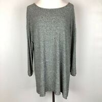 J Jill Wearever Collection Heathered Grey Knit Pullover 3/4 Sleeve Top Size L