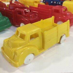 """Vintage Lapin 1940s Yellow Cab Over Chevy Hard Plastic Stake Truck 4,5"""" USA"""