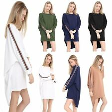 Womens Batwing Baggy Oversized Stripe on Side Hi-Lo Jumper Knitted Tunic Dress 8