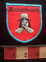 Vtg Massachusetts Patch - Puritan Pilgrim Colonist 75WT