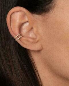 0.32Ct Round Cut Diamond Dainty, delicate ear cuff 14K Yellow Gold Finish.