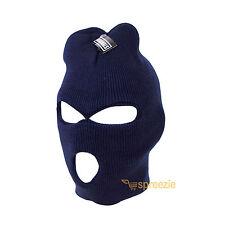 Navy Blue Ski Mask Beanie 3 Hole Knitted Cap Hat Warm Face Winter Snow Unisex