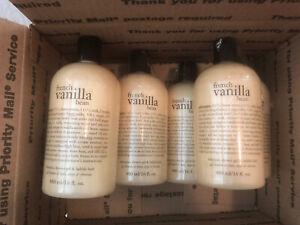 NEW Lot Of 6 Philosophy French Vanilla Bean 16.0 oz Shampoo, Shower Gel, Bubble