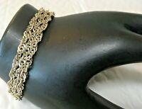 "Vintage Italian Solid Sterling Silver Triple Chain 7.25 in. "" Bracelet 925 Italy"
