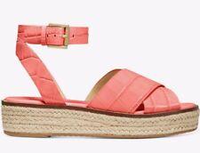 NIB Size 6.5 Michael Kors Abbott Croc-embossed leatherSandal Pink Grapefruit