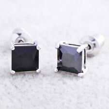 mens black earrings white Gold Filled silver crystal diamond stud punk earrings