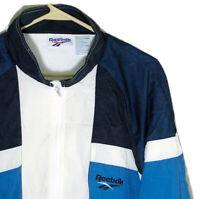 Men's XL Vintage 90s Reebok Windbreaker Jacket Mesh Blue Black White Big Logo