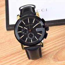 Gucci G-Chrono Chronograph Black Leather YA101202 Mens Watch