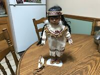 Native American-Indian Doll, Porcelain with Papoose, long hair braids w/stand 14