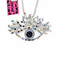 Betsey Johnson Crystal Evil Eye Pendant Sweater Chain Necklace/Brooch Pin