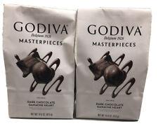 2 Packs Godiva Masterpieces Dark Chocolate Hearts 14.6 OZ Each Pack