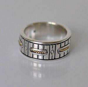 Konstantino Men's Ring Sz 12 Sterling Silver 18K Gold Wedding Band New
