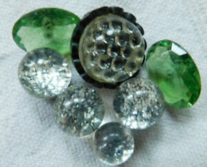 Vintage lucite button lot~1 bumpy glass~green~confetti ball type~11mm-19mm~G3