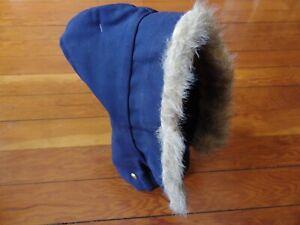 "Carhartt NOS NEW w/tags HQ182 Arctic quilt hood w/""fur"", USA-made, navy blue"